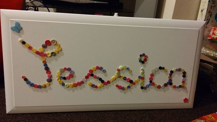 Name board made of buttons