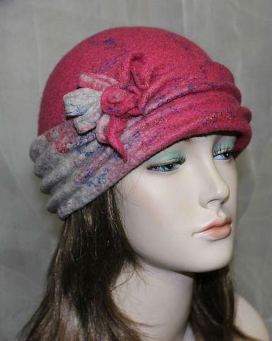 Pink Grey Felt Hat Retro Style Flapper 1920s Style by FeltZeppelin