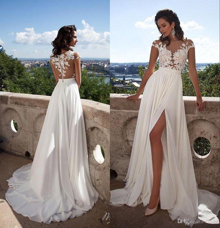 Sexy Illusion Beach Wedding Dresses 2016 Summer With 3d Floral Applique Split Cap Sleeve White Chiffon
