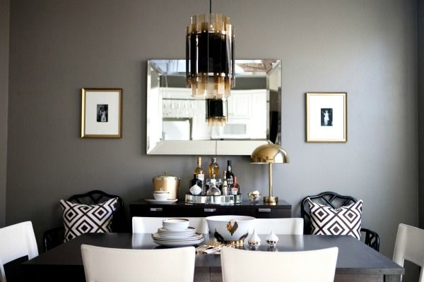 Erika Bretchel's modern/glam dining room. That light fixture is to die for!