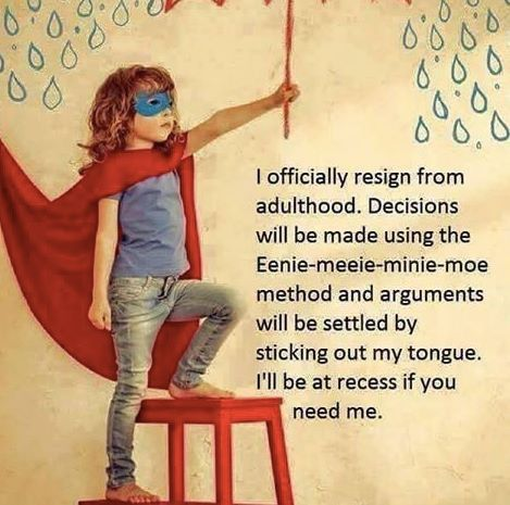 I officially resign from adulthood...M.J. Rose FB