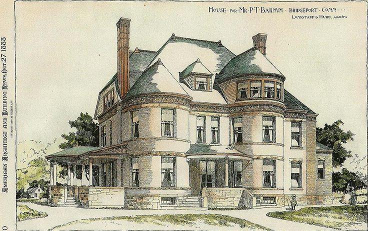 bridgeport connecticut | Bridgeport Connecticut 1888 Painting - P. T. Barnum House Bridgeport ...