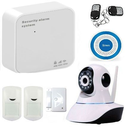 (109.25$)  Watch now  - WIFI GSM Wireless GSM Security Alarm Home Alarm System With IP Camera Home Protection GPRS WIFI GSM Alarm System