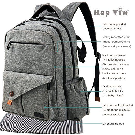 Hap Tim Multi-function Large Baby Diaper Bag Backpack W/Stroller Straps-Insulated Bottle Pockets-Changing Pad,High Quality Nylon Fabric Waterproof for Moms & Dads (5284-Gray): Amazon.ca: Baby