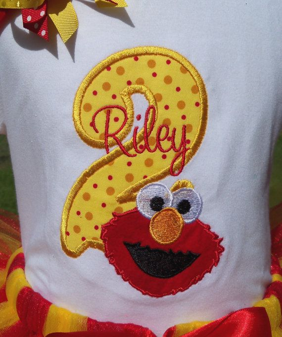Elmo Birthday outfit with shirt and hairbow and by OMG2Cute, $46.95