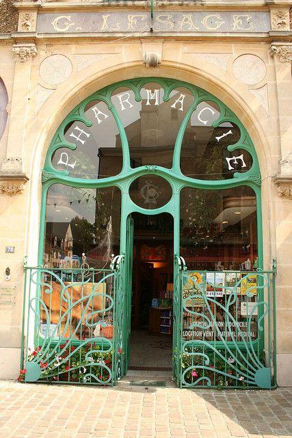 Normandy - Wonderful Art Nouveau style chemist shop doorway.