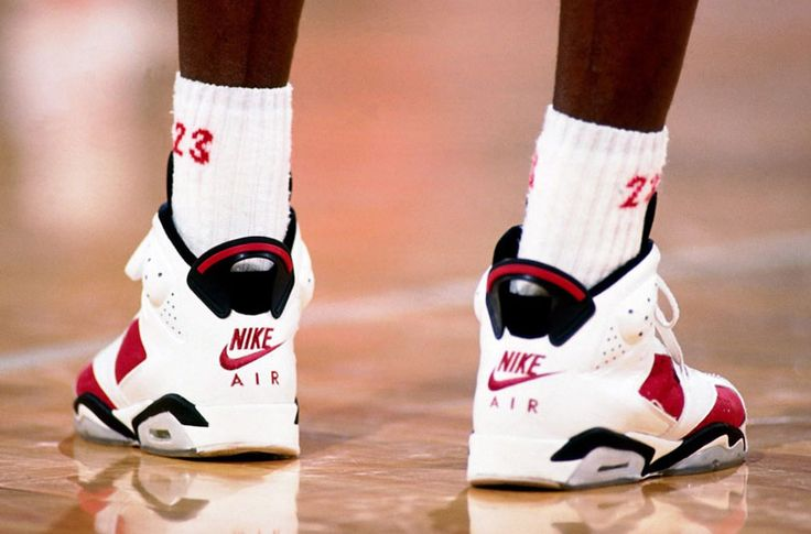 CHICAGO - 1992: A close up view of the shoes worn by Michael Jordan #23 of the Chicago Bulls during a game played circa 1992 at Chicago Stadium in Chicago, Illinois. NOTE TO USER: User expressly acknowledges and agrees that, by downloading and/or using this Photograph, user is consenting to the terms and conditions of the Getty Images License Agreement. Mandatory Copyright Notice: Copyright 1992 NBAE (Photo by Nathaniel S. Butler/NBAE via Getty Images)