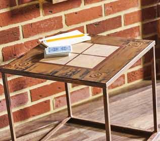 Remake an old table for the house's man cave wit with this DIY Decoupage  End Table.