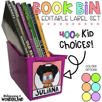 Book Bin Labels - Pastel Editable Name Tags {400+ Choices} | TpT