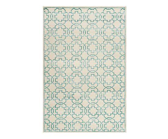 Tappeto in lana e viscosa Maxwell crema/verde acqua, 243x152 cm