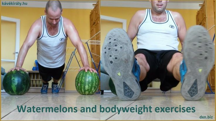 Push-ups and tricep dips on watermelons funny training video