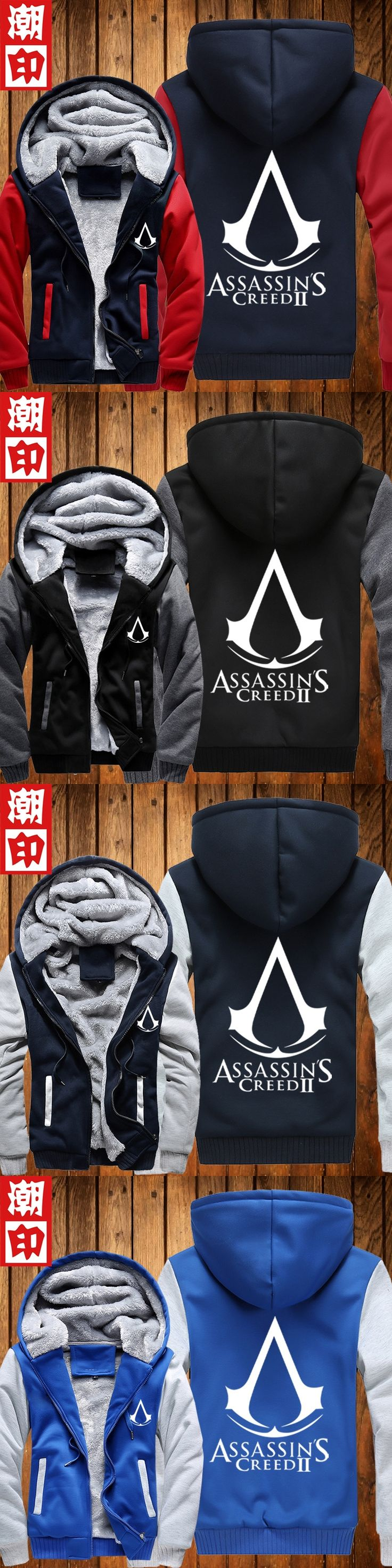 Top Quality Thick Warm Assasin Creed Winter Fleece Lined Cosplay Coat Assassins Creed Hoodie Black Grey Unity plus size S-5XL