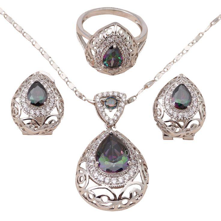 Плавающие подвески pendientes мистик топаз серебряные заполненные изысканные мода комплект ювелирных изделий ожерелье серьги кольца sz # 6 # 6.5 # 7.5 # 8.5 JS566купить в магазине Jos fan's storeнаAliExpress