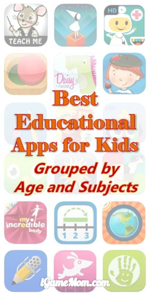 Best educational apps for kids, grouped by kids age and learning subjects - there is a section of free apps including books #kidsApps