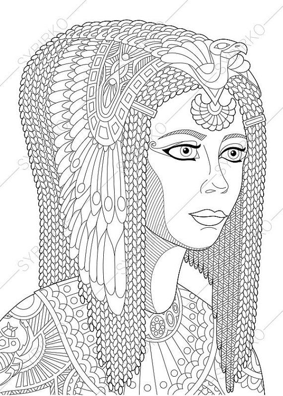 Coloring Pages For Adults Digital Coloring Pages Egyptian Etsy Coloring Pages Egyptian Queen Anti Stress Coloring Book