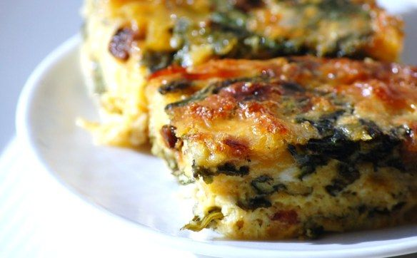 Spinach and bacon quiche, crustless.