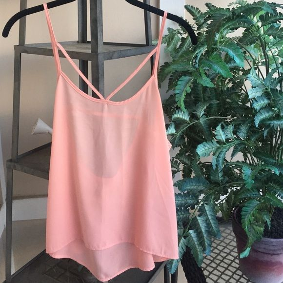 Pink Strappy Top Light pink top with cutout straps in the front and a low cutout back. It is sheer, super cute with a bralette. Good pre-worn condition H&M Tops