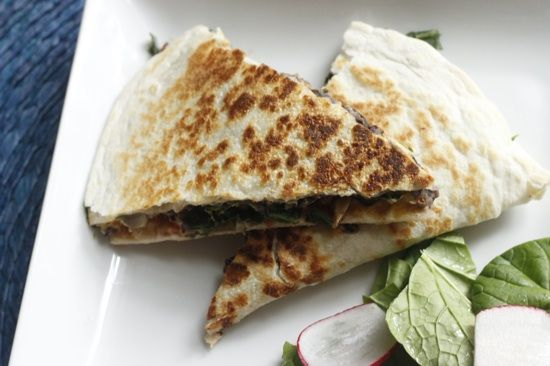 "Vegan Black Bean Quesadilla adapted from ""Forks Over Knives"" Cookbook"