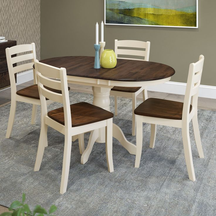 CorLiving Dillon 5-piece Extendable Dark and Cream Solid Wood Dining Set