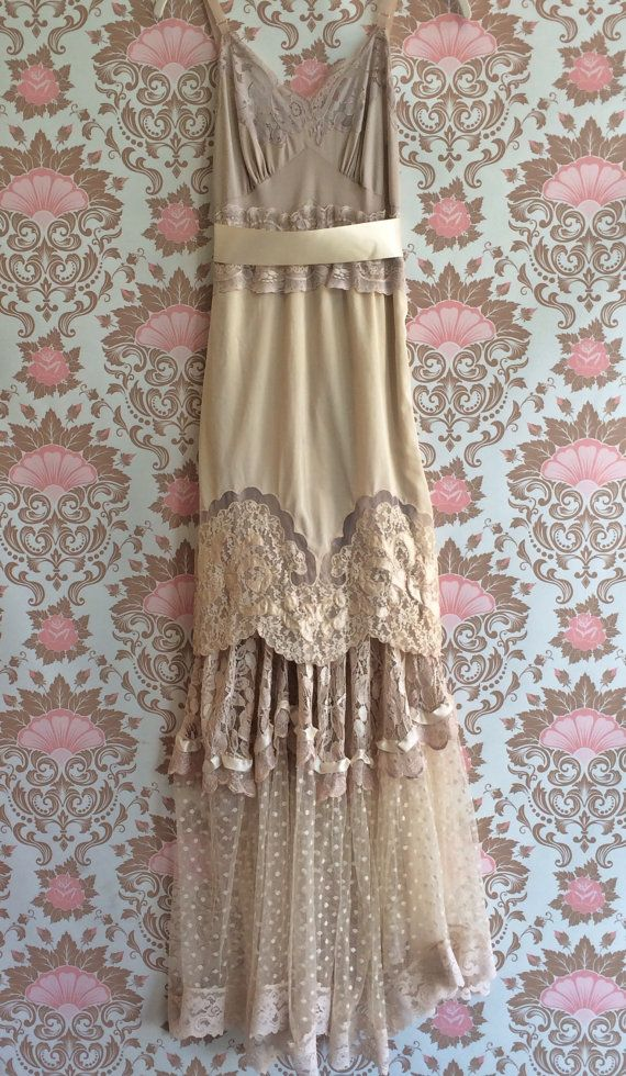 ecru ivory & cream lace boho maxi wedding by mermaidmisskristin