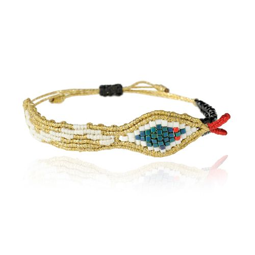 Gold Snake Bracelet by Zoe Kompitsi. Collection: Aeternitas. White, blue, black & red beads. Adjustable strap.