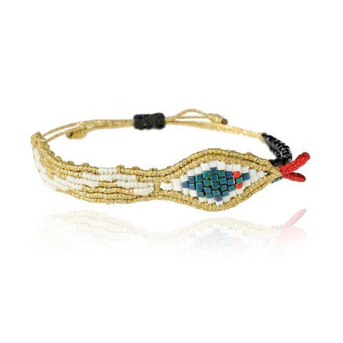 Gold Snake Bracelet by Zoe Kompitsi. Collection: Aeternitas. White, blue, black & red beads. Adjustable strap.