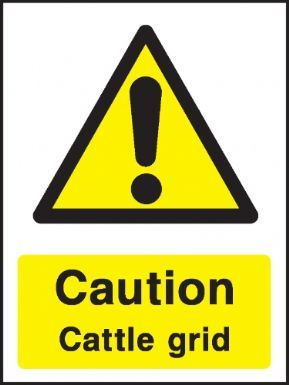 Caution Cattle grid warning sign