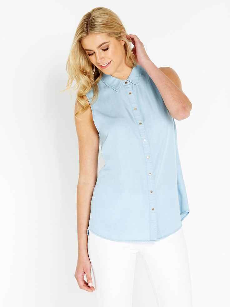 Sleeveless Chambray Shirt | Portmans