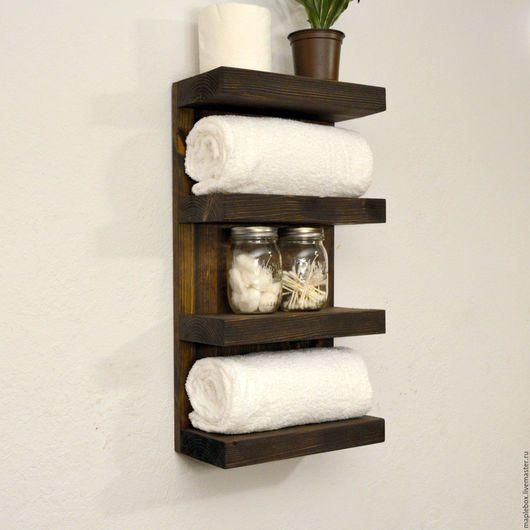 Мебель ручной работы. Полка для ванной комнаты, темная. Никита (maplebox). Ярмарка Мастеров. Полка для мелочей, лофт, сосна