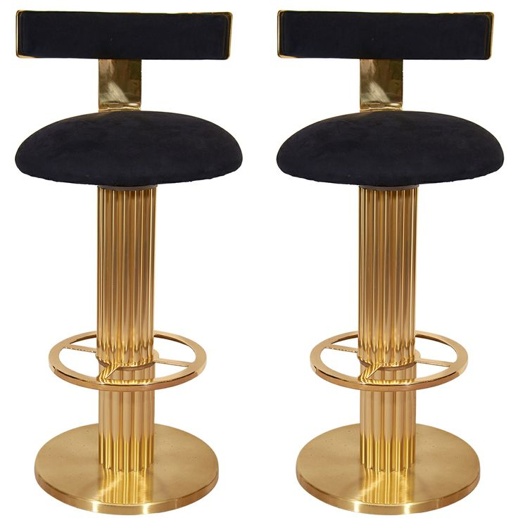 Pair of Mid Century Solid Brass Bar Stools | From a unique collection of antique and modern stools at http://www.1stdibs.com/furniture/seating/stools/