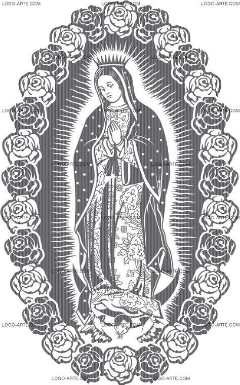 Detalles de la Virgen de Guadalupe vectorizada para cortar en vinilo y máscara o grabar.