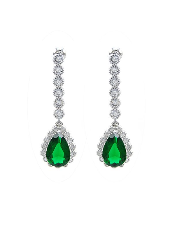 wholesale bridal emerald CZ earrings by China fahion supplier