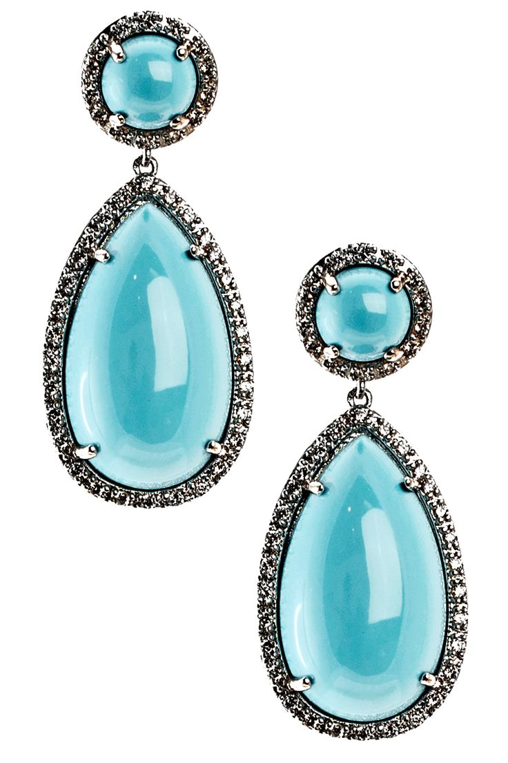 Round & Pear Turquoise Double Drop Earrings on HauteLook