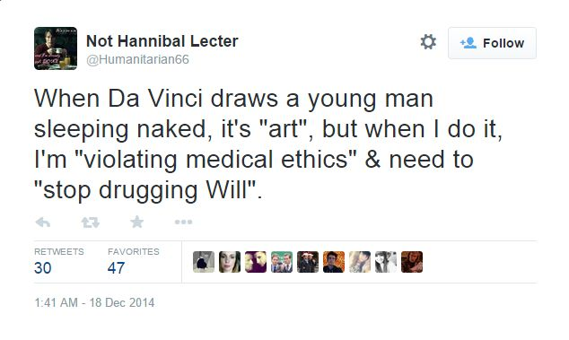 Dr Hannibal Lecter has something to bitch about.