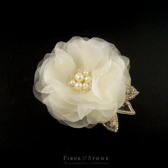Pure Silk Bridal Fascinator with Swarovski Crystals by FiberStone, $49.00