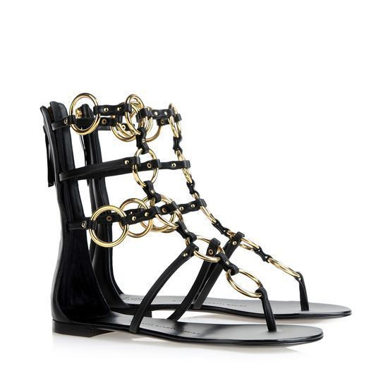 Giuseppe Zanotti Ankle Strap Flat Sandals With Gold Metal Rings Black