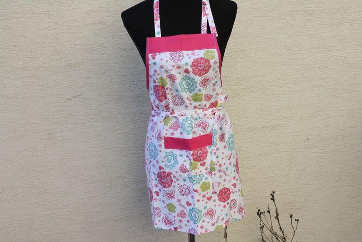 Schürzen - Kinder Schürze Kochen Backen pink rosa türkis weiß - ein Designerstück von trixies-zauberhafte-Welten bei DaWanda