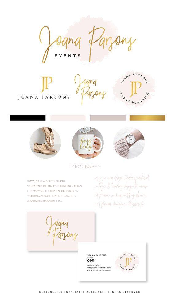 Branding Kit Branding Package Premade Logo Watercolor by InkyJar