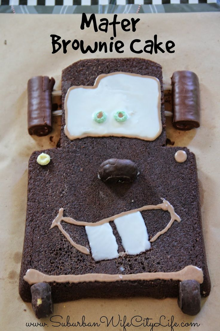 Easy Cars Mater Cake made with a brownie, donuts, and swiss cakes. Take about 15 minutes to decorate.