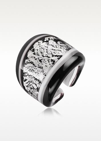 Antica Murrina Cuba - Black and White Murano Glass Ring