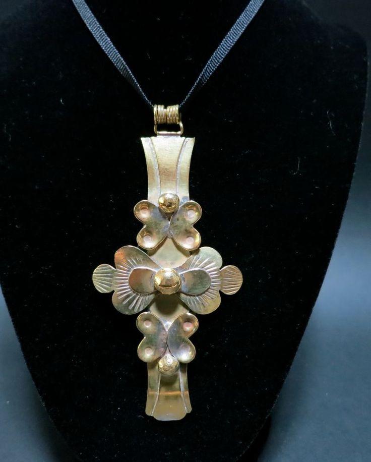SEPPO TAMMINEN Finland Mid Century Modern Jewelry Cross Large Pendant