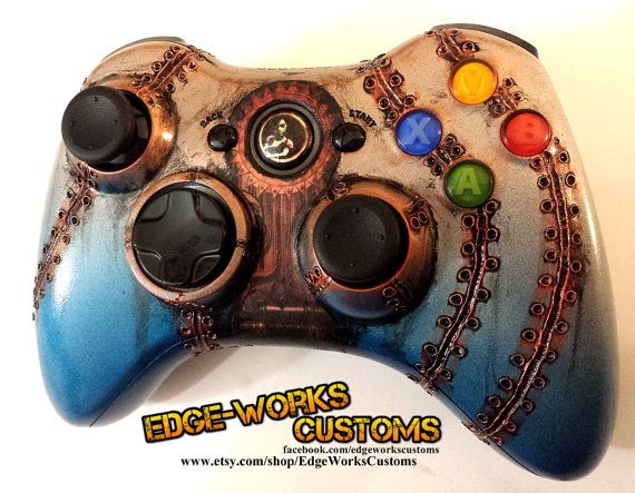 Custom made replacement shell for Xbox 360 wireless controller inspired by the gritty style of the bioshock gameplay.  Welds are sculpted into