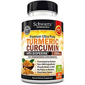Turmeric Curcumin with Bioperine® 1500mg 95% Standardized Curcuminoids. Non-GMO, Gluten Free Turmeric Capsules Extra Strength Highest Potency Available Turmeric Pills with Black Pepper Made in the USA from Schwartz Bioresearch
