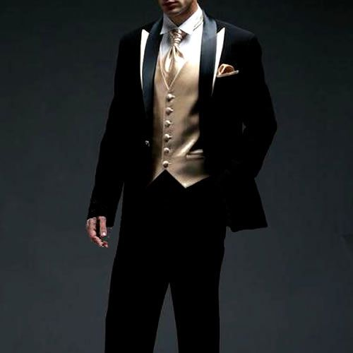 Black and gold tux