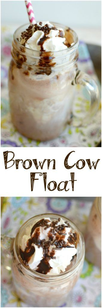 A Brown Cow Float begins with your favorite flavors of ice cream and floats in chocolate milk, then it's topped with as much chocolate as you can handle!