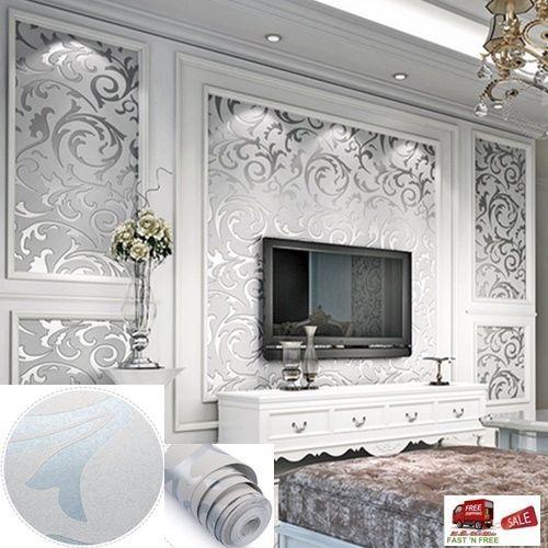 3D Wallpaper European Damask Sliver Gray Vinyl Textured Background TV  LivingRoom