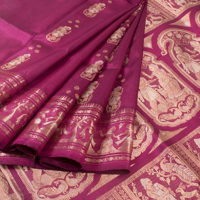 Handwoven Magenta Swarnachari Fine Silk & Fine Zari Saree With Dancing Doll Motifs 10018038 - AVISHYA.COM