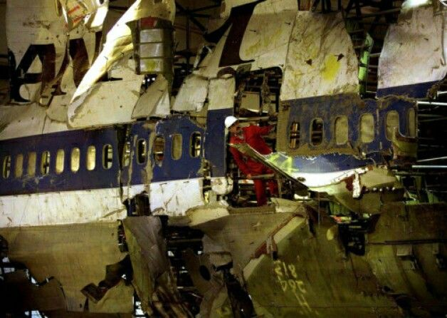 reconstructed fuselage from pan am flight 103 destroyed in