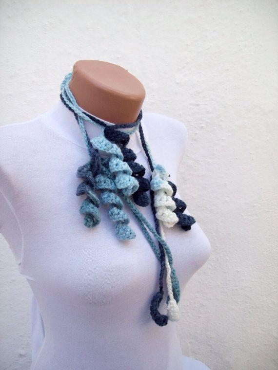 Handmade crochet Lariat Scarf Sky Blue White Navy by scarfnurlu