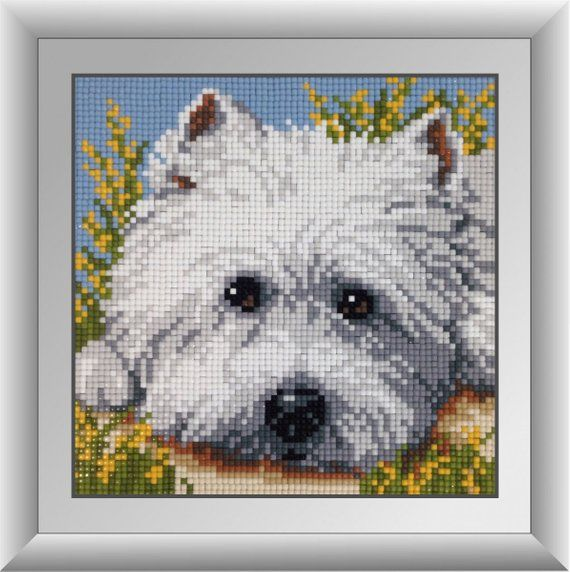 5D DIY Full Drill Diamond Painting White Puppy Cross Stitch Embroidery Kit